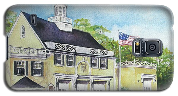Galaxy S5 Case featuring the painting Locust Valley Firehouse by Susan Herbst