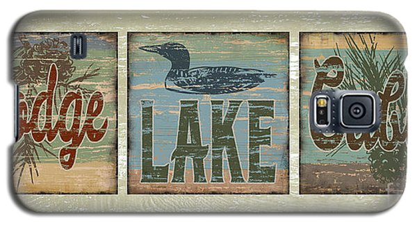 Galaxy S5 Case featuring the painting Lodge Lake Cabin Sign by Joe Low