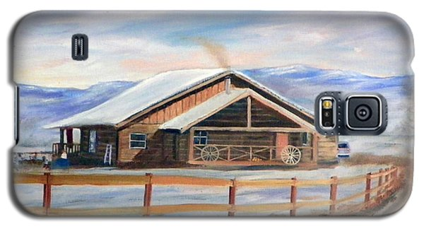 Galaxy S5 Case featuring the painting Log Cabin House In Winter by Sherril Porter