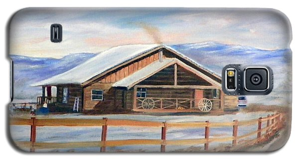 Log Cabin House In Winter Galaxy S5 Case by Sherril Porter