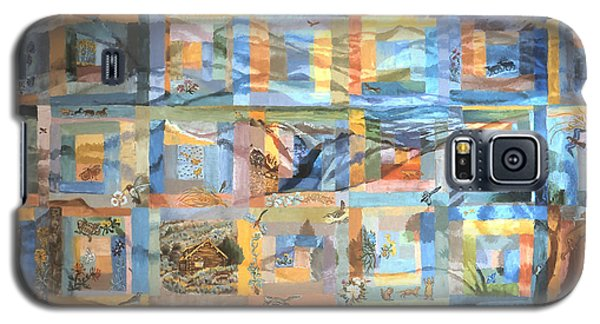 Galaxy S5 Case featuring the painting Log Cabin Quilt by Dawn Senior-Trask