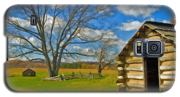 Galaxy S5 Case featuring the photograph Log Cabin Valley Forge Pa by David Zanzinger