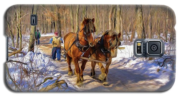 Logging Horses 1 Galaxy S5 Case by Trey Foerster