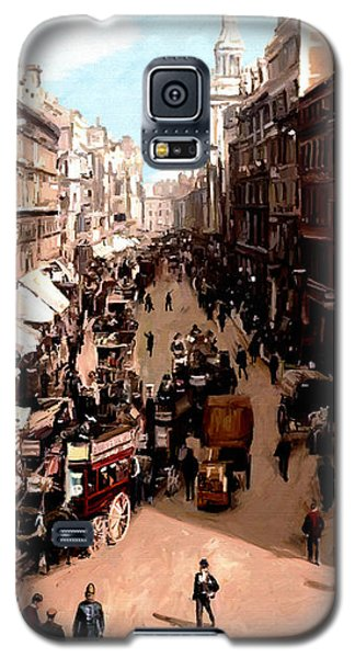 Galaxy S5 Case featuring the painting London Cheapside by James Shepherd