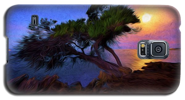 Lone Tree On Pacific Coast Highway At Moonset Galaxy S5 Case