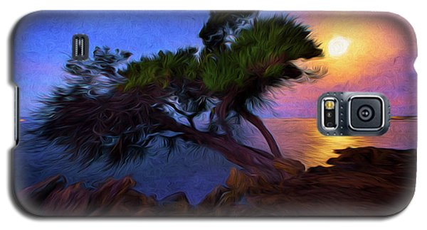 Galaxy S5 Case featuring the photograph Lone Tree On Pacific Coast Highway At Moonset by John A Rodriguez