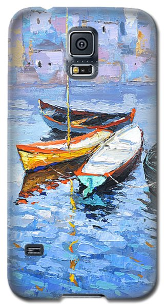 Galaxy S5 Case featuring the painting Lonely Boats  by Dmitry Spiros