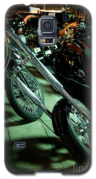 Long Front Fork And Wheel Of Chopper Bike At Night Galaxy S5 Case by Jason Rosette