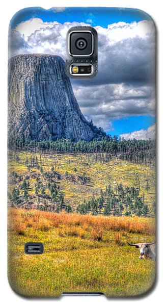 Longhorn At Devils Tower Galaxy S5 Case