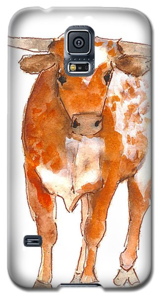 Texas Red Longhorn Watercolor Painting By Kmcelwaine Galaxy S5 Case