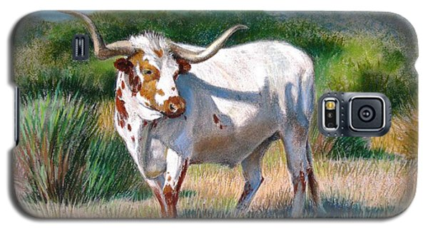 Galaxy S5 Case featuring the painting Longhorn Bull by Sue Halstenberg