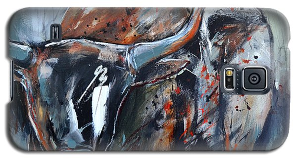 Galaxy S5 Case featuring the painting Longhorn by Cher Devereaux