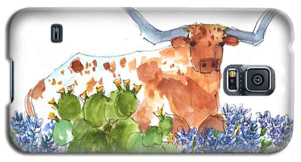 Longhorn In The Cactus And Bluebonnets Lh014 Kathleen Mcelwaine Galaxy S5 Case
