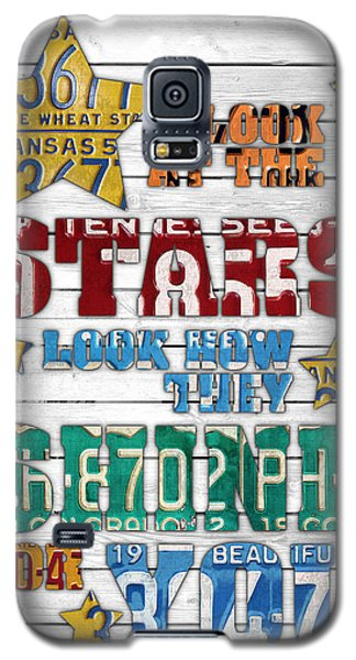 Look At The Stars Coldplay Yellow Inspired Typography Made Using Vintage Recycled License Plates V2 Galaxy S5 Case by Design Turnpike