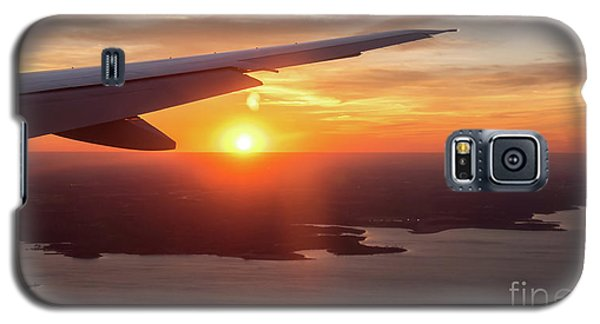 Looking At Sunset From Airplane Window With Lake In The Backgrou Galaxy S5 Case
