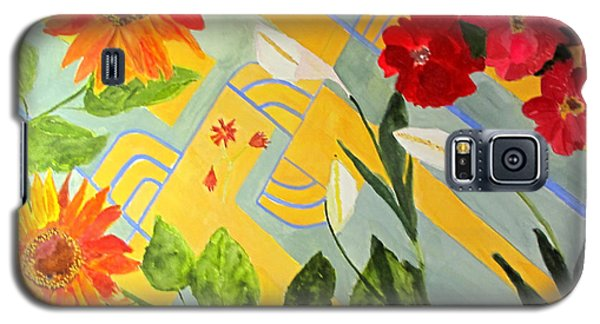 Galaxy S5 Case featuring the painting Looking Down On The Flowers On The Tile Floor by Sandy McIntire