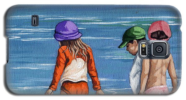 Looking For Seashells Children On The Beach Figurative Original Painting Galaxy S5 Case