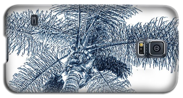 Galaxy S5 Case featuring the photograph Looking Up At Palm Tree Blue by Ben and Raisa Gertsberg