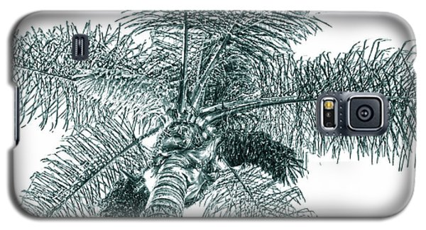 Galaxy S5 Case featuring the photograph Looking Up At Palm Tree Green by Ben and Raisa Gertsberg