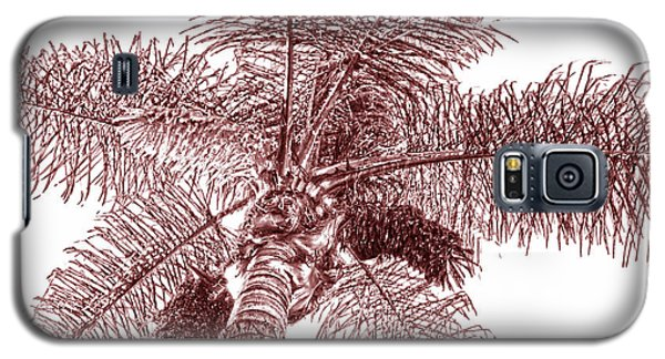 Galaxy S5 Case featuring the photograph Looking Up At Palm Tree Red by Ben and Raisa Gertsberg