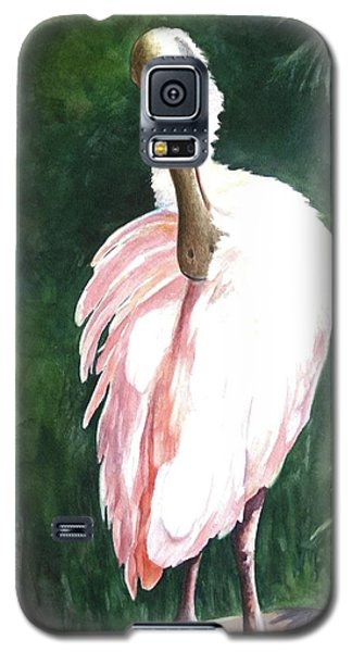 Galaxy S5 Case featuring the painting Look'n Back - Spoonbill by Roxanne Tobaison