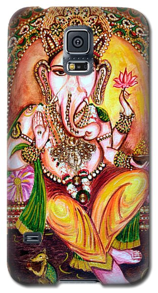 Galaxy S5 Case featuring the painting Lord Ganesha by Harsh Malik