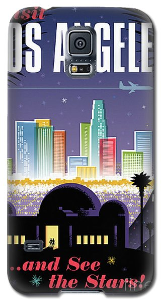 Los Angeles Retro Travel Poster Galaxy S5 Case by Jim Zahniser