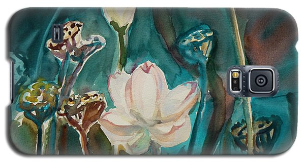 Galaxy S5 Case featuring the painting Lotus Study I by Xueling Zou