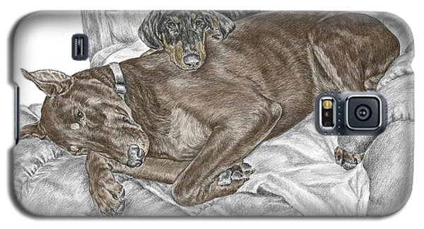 Galaxy S5 Case featuring the drawing Lounge Lizards - Doberman Pinscher Puppy Print Color Tinted by Kelli Swan