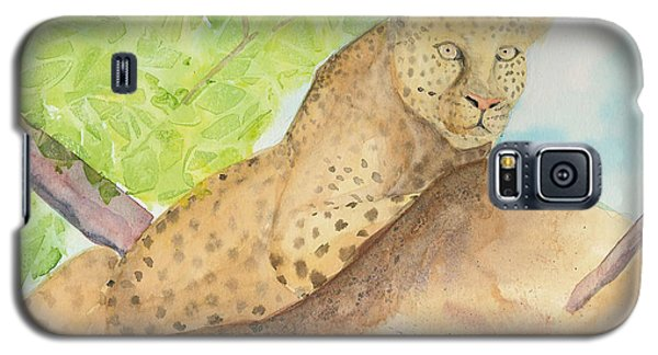 Galaxy S5 Case featuring the painting Lounging Leopard by Vicki  Housel