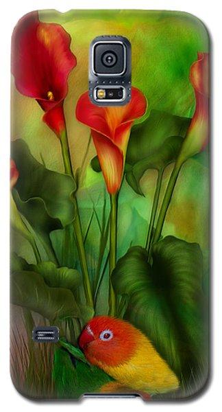 Lovebird Galaxy S5 Case - Love Among The Lilies  by Carol Cavalaris