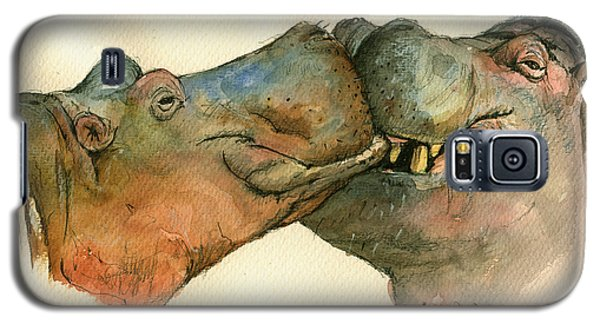 Love Between Hippos Galaxy S5 Case by Juan  Bosco