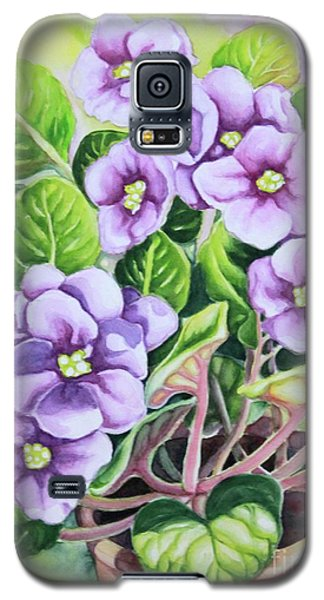 Galaxy S5 Case featuring the painting Love In Purple 1 by Inese Poga