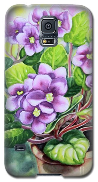 Galaxy S5 Case featuring the painting Love In Purple 2 by Inese Poga