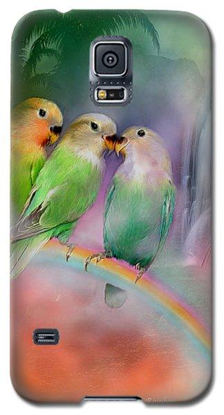 Lovebird Galaxy S5 Case - Love On A Rainbow by Carol Cavalaris