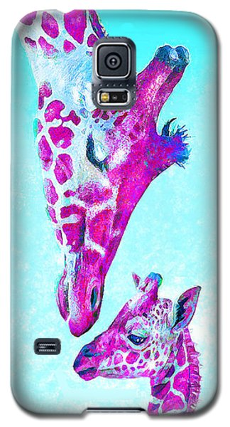 Loving Giraffes- Magenta Galaxy S5 Case by Jane Schnetlage