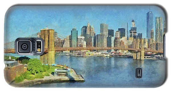 Galaxy S5 Case featuring the digital art Lower Manhattan And The Brooklyn Bridge by Digital Photographic Arts