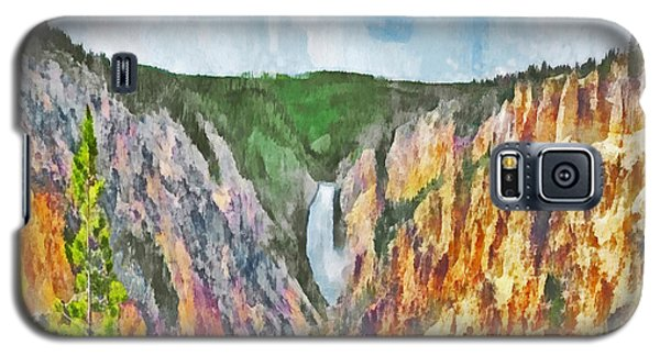 Galaxy S5 Case featuring the digital art Lower Yellowstone Falls by Digital Photographic Arts