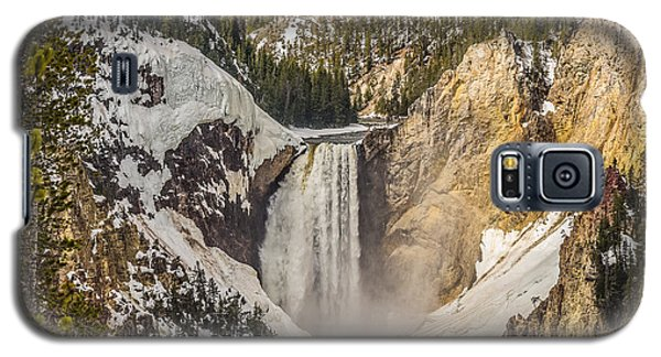 Galaxy S5 Case featuring the photograph Lower Yellowstone Falls In Winter by Yeates Photography