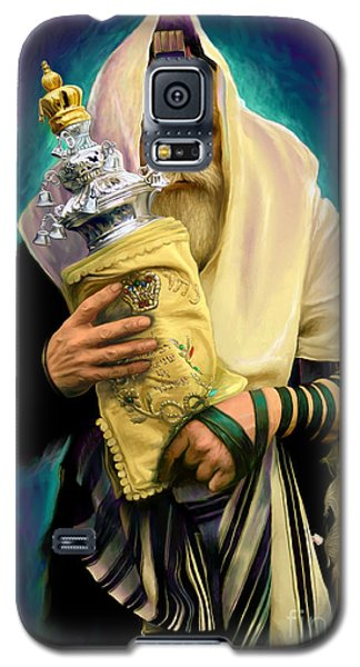 Galaxy S5 Case featuring the painting Lubavitcher Rebbe With Torah by Sam Shacked