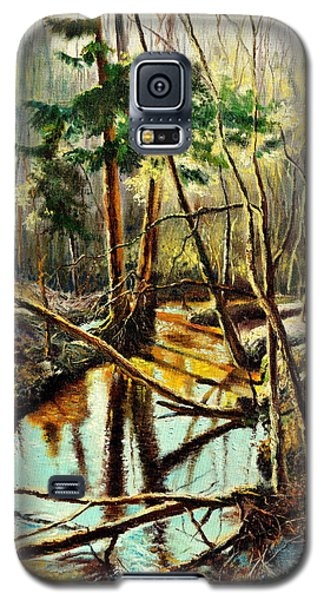 Galaxy S5 Case featuring the painting  Lubianka-1- River by Henryk Gorecki
