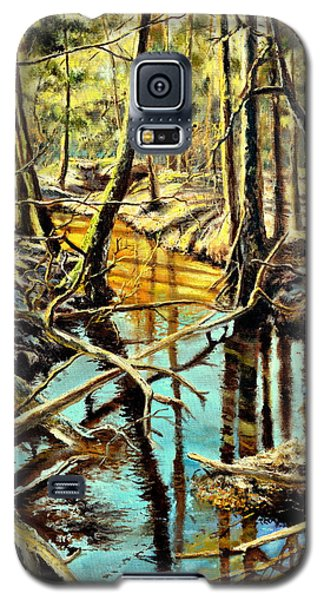Galaxy S5 Case featuring the painting  Lubianka-3-river by Henryk Gorecki