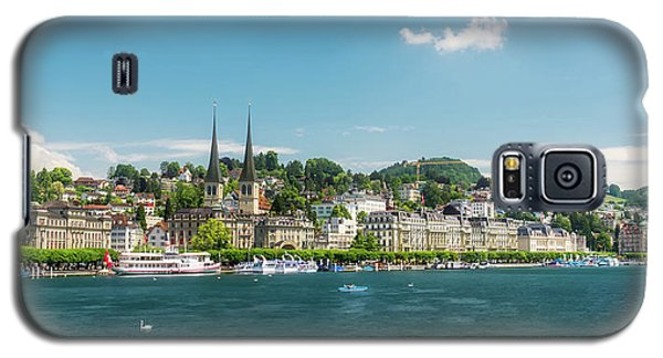 Galaxy S5 Case featuring the photograph Lucerne Panorama by Wolfgang Vogt