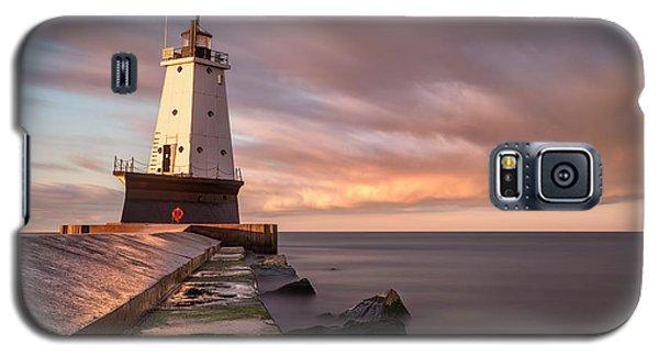 Galaxy S5 Case featuring the photograph Ludington Light Sunrise Long Exposure by Adam Romanowicz