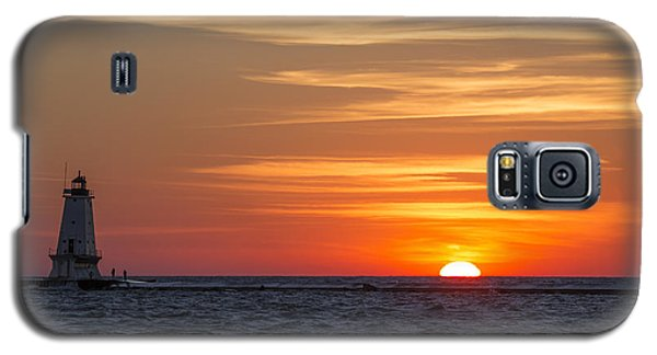 Galaxy S5 Case featuring the photograph Ludington North Breakwater Light At Sunset by Adam Romanowicz