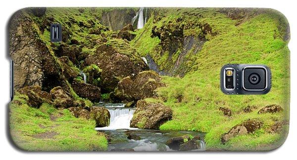 Galaxy S5 Case featuring the photograph Lush Icelandic Falls by Brad Scott