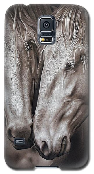Galaxy S5 Case featuring the drawing Lusitano Pair by Elena Kolotusha