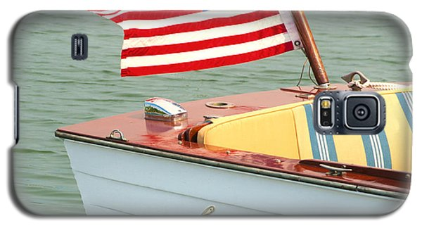 Vintage Mahogany Lyman Runabout Boat With Navy Flag Galaxy S5 Case