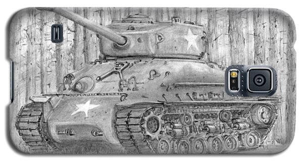 Galaxy S5 Case featuring the drawing M-4 Sherman Tank by Jim Hubbard
