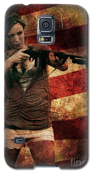 M1 Carbine On American Flag Galaxy S5 Case